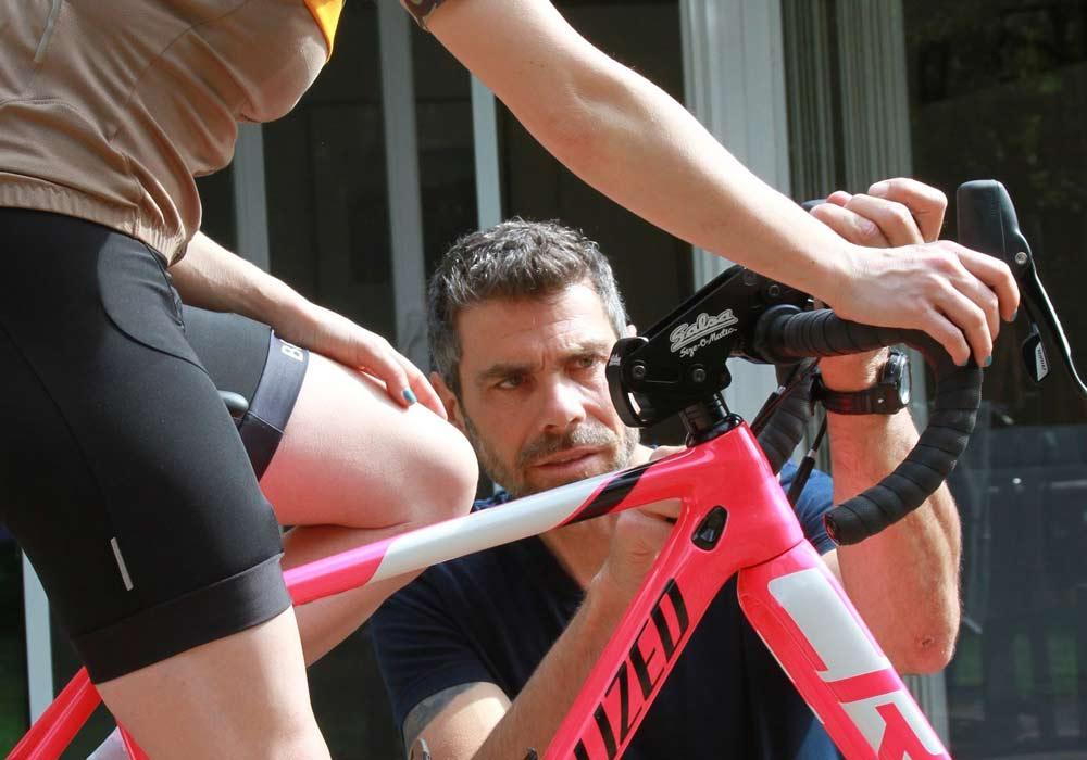 bike fitting woman cyclist